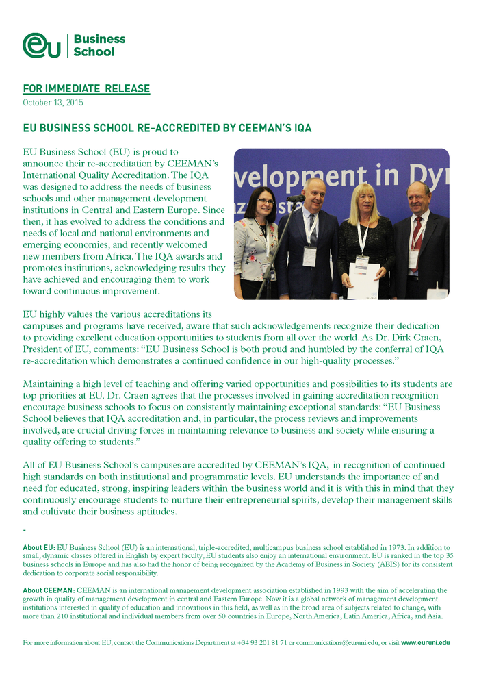 EU Business School Re-Accredited by CEEMAN'S IQA