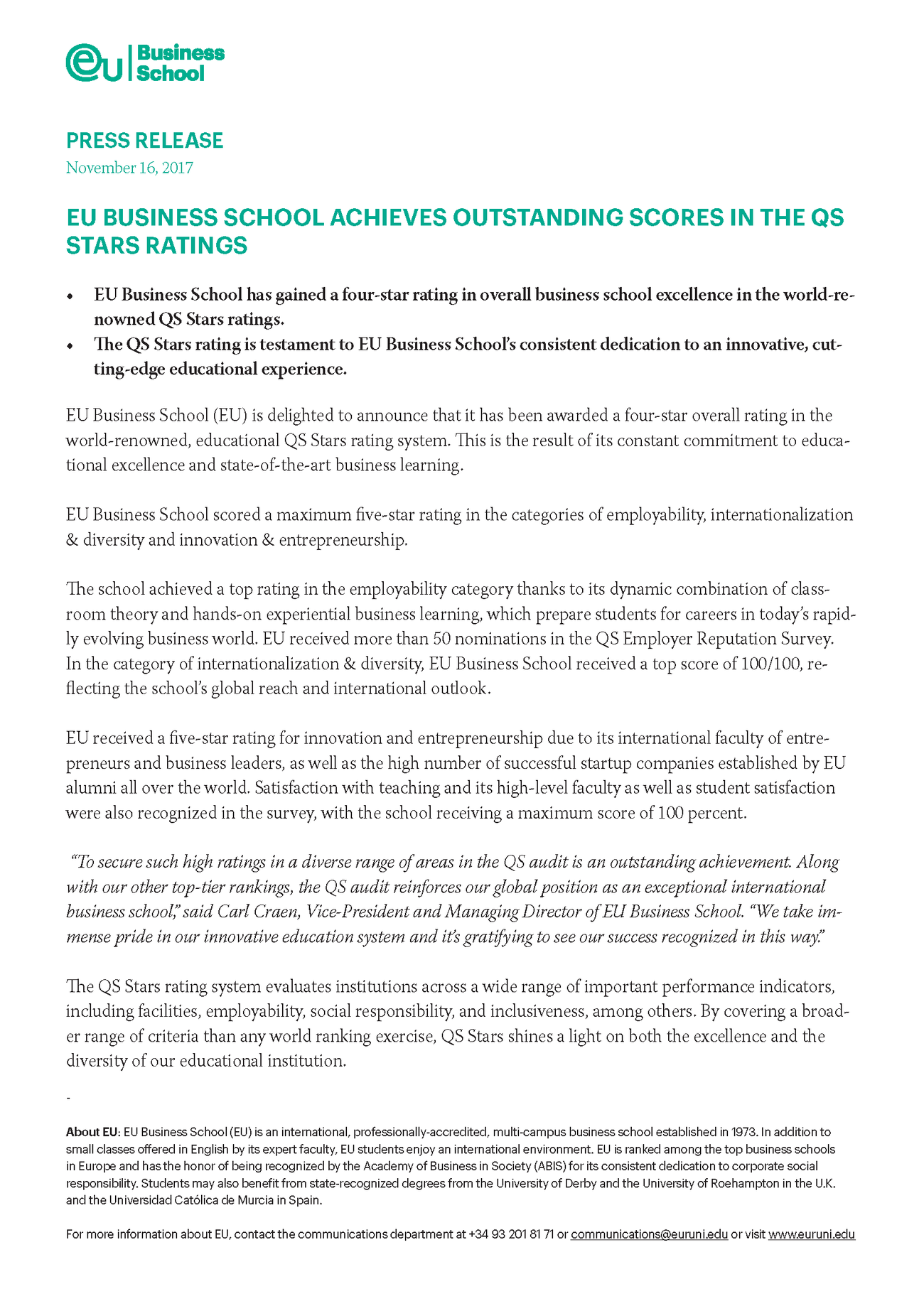 EU BUSINESS SCHOOL ACHIEVES OUTSTANDING SCORES IN THE QS STARS RATINGS