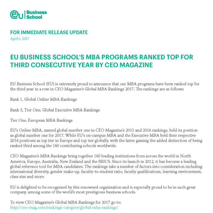EU BUSINESS SCHOOL'S MBA PROGRAMS RANKED TOP FOR THIRD CONSECUTIVE YEAR BY CEO MAGAZINE