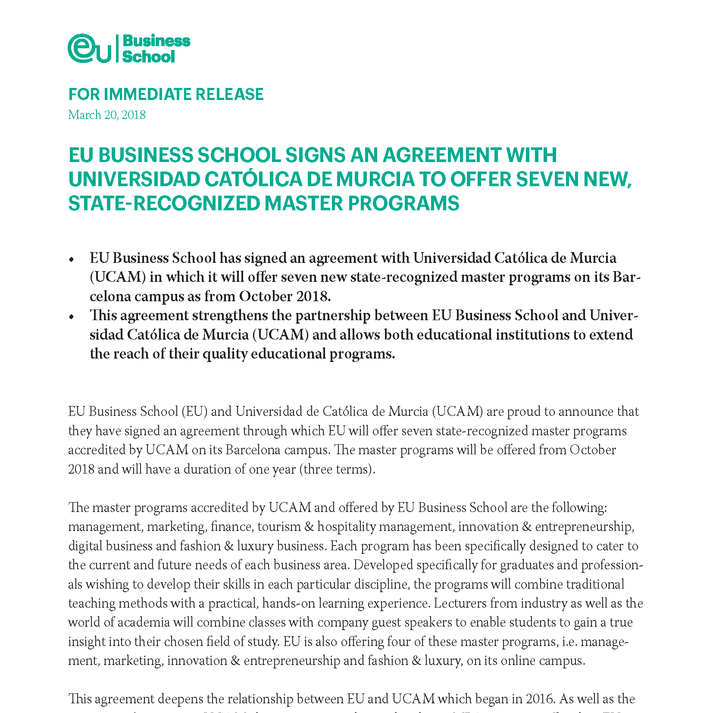 EU BUSINESS SCHOOL SIGNS AN AGREEMENT WITH UNIVERSIDAD CATÓLICA DE MURCIA TO OFFER SEVEN NEW, STATE-RECOGNIZED MASTER PROGRAMS