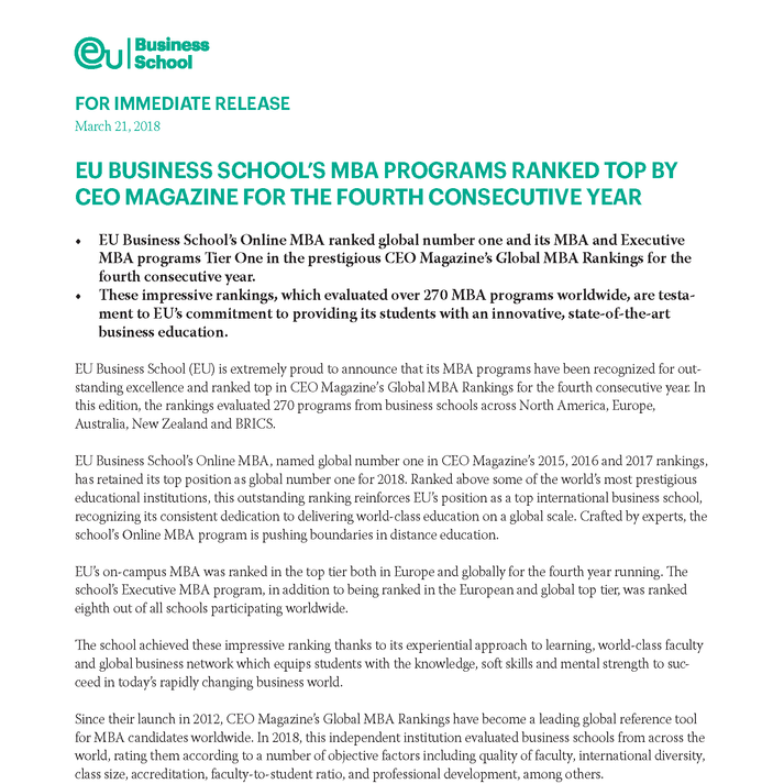 EU BUSINESS SCHOOL'S MBA PROGRAMS RANKED TOP BY CEO MAGAZINE FOR THE FOURTH CONSECUTIVE YEAR
