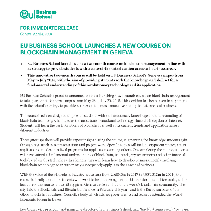 EU BUSINESS SCHOOL LAUNCHES A NEW COURSE ON BLOCKCHAIN MANAGEMENT IN GENEVA