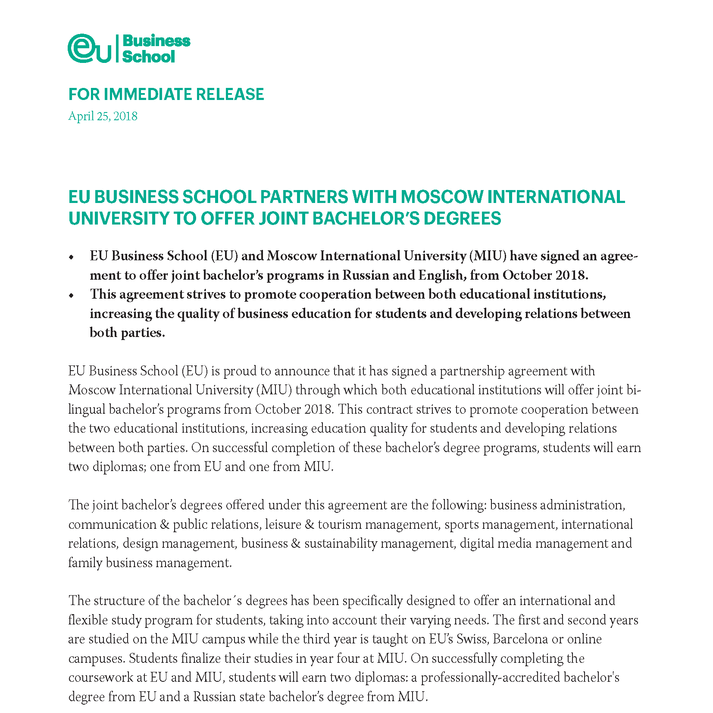 EU BUSINESS SCHOOL PARTNERS WITH MOSCOW INTERNATIONAL UNIVERSITY TO OFFER JOINT BACHELOR'S DEGREES