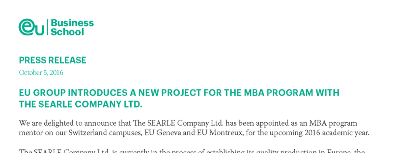 EU Business School SEARLE Press Release