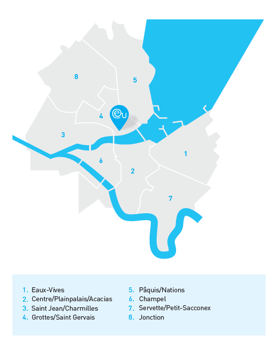 A map of the different neighborhoods that make up Geneva.