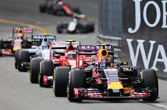 Formula One drivers battling at the Monaco GP