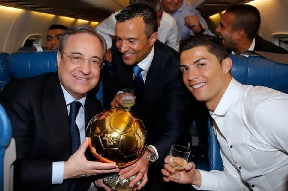 Jorge Mendes with Cristiano Ronaldo & Real Madrid's President