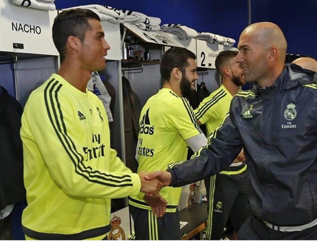 Real Madrid's superstar C. Ronaldo greeting his new coach