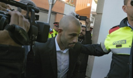 Javier Mascherano appearing at his court hearing in Barcelona
