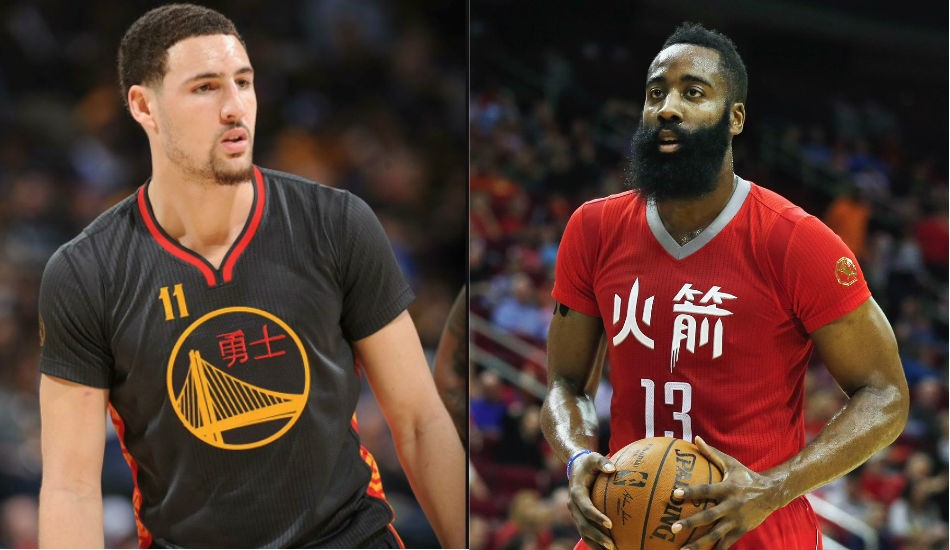 Klay Thompson and James Harden wearing Chinese customized equipment