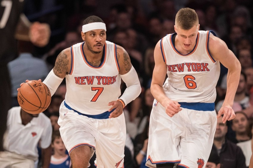 Kris Porzingis and his mentor/leader Carmelo Anthony