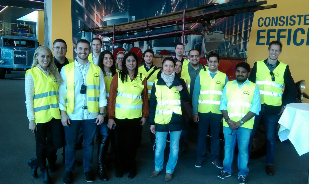Students looking stylish in their Hi-Vis-jackets at the MAN factory